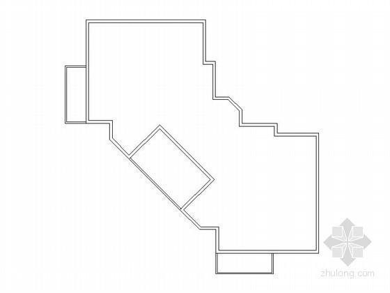 多层住宅90度拐角一梯二户型平面图(88平方米)-