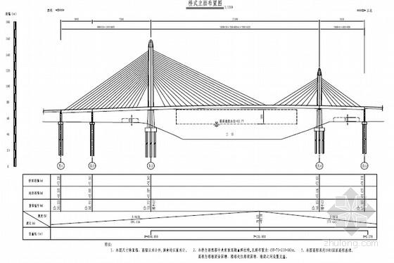 主跨210m中央索面高低塔混凝土梁斜拉桥施工图1208张(塔墩梁固结 群桩基础)