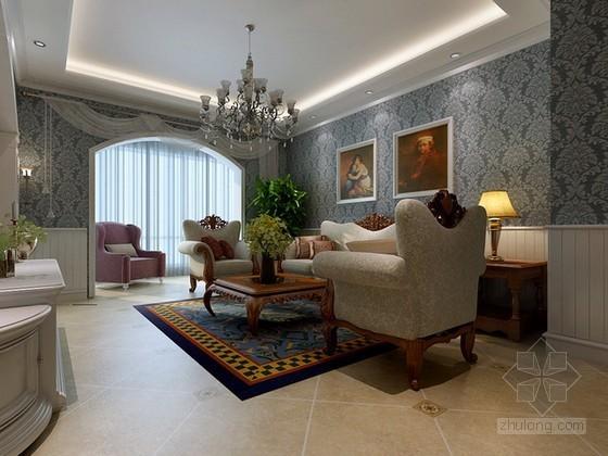 欧式古典风格客餐厅3d模型下载