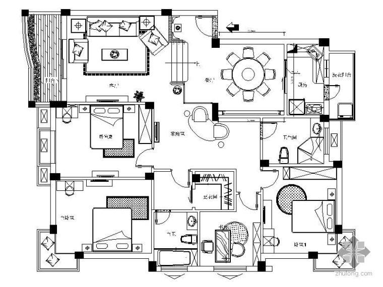 [上海]新古典四居样板房施工图