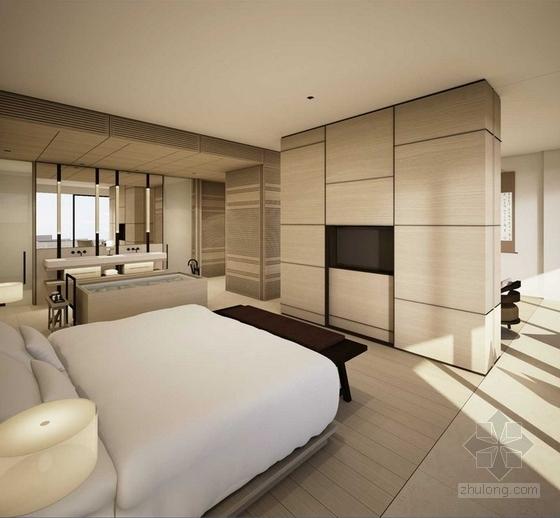 [青岛]顶级文化创意现代极简风格度假酒店客房设计方案图效果图