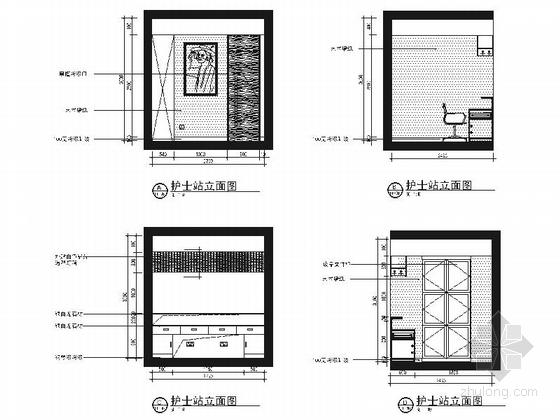 [锡安]知名设计单位高级专业现代月子会所装修施工图(含效果)护士站立面图