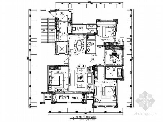 [安徽]双城核心地段欧式新古典四居室样板房装修施工图