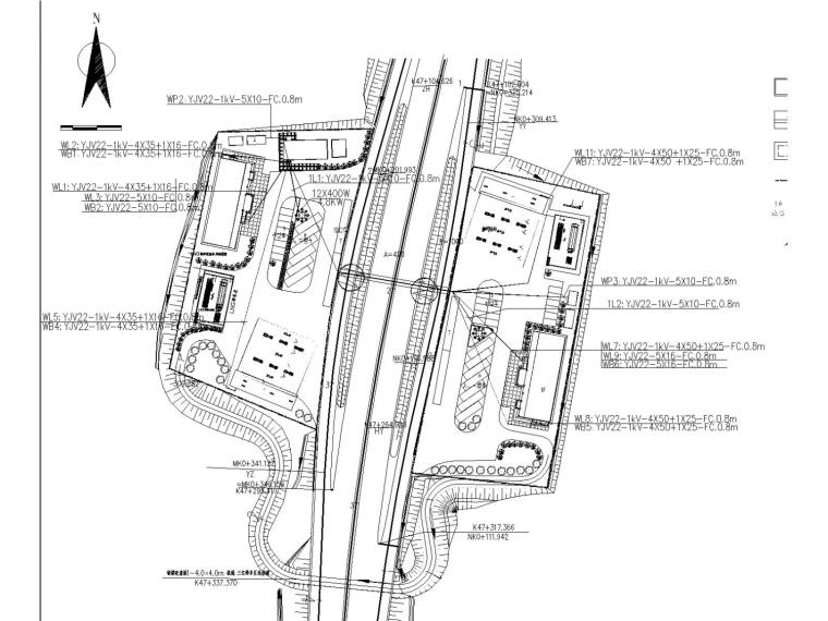 高速公路停车区多栋建筑电气施工图设计(含总图)