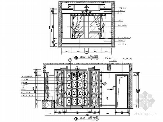 [安徽]奢派港湾小区简欧三居室样板房装修施工图主卧立面图