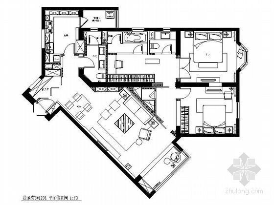 [上海]文明小区现代风格三居室装修施工图(含效果)