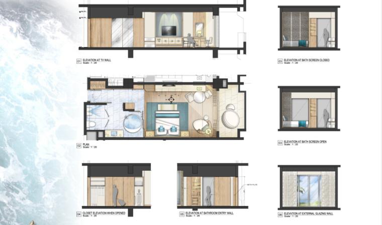 [三亚]某豪华酒店样板房方案设计施工图(含效果图及软装)_3