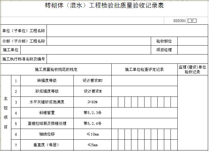 砖砌体(混水)工程检验批质量验收记录表
