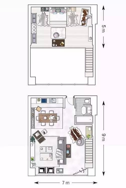 可以开家庭趴的走心的复式小公寓设计
