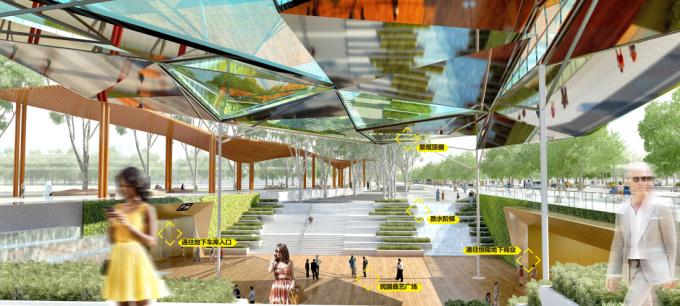 """[湖北]""""海绵城市""""汉派文化核心绿轴生态滨江商业核心区景观设计方案_3"""