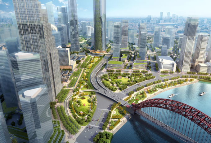 [湖北]生态海绵城市中央绿轴地下立体化商业广场景观绿化设计方案(2017最新)_1