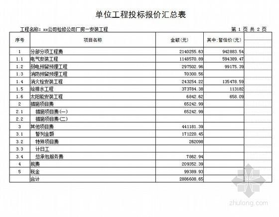 [山东]2013年电力公司厂房安装工程量清单报价(附图纸)
