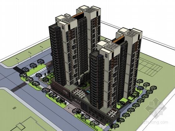 高端住宅建筑SketchUp模型下载