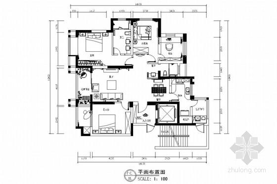 [汉口]绵长湖岸成熟配套小区新中式风格三居室装修图(含效果图)