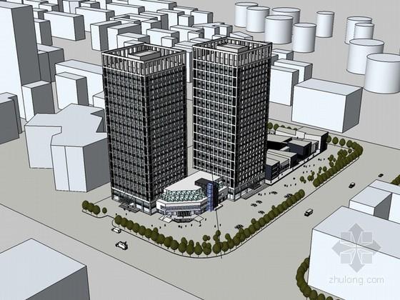 现代高层建筑SketchUp模型下载