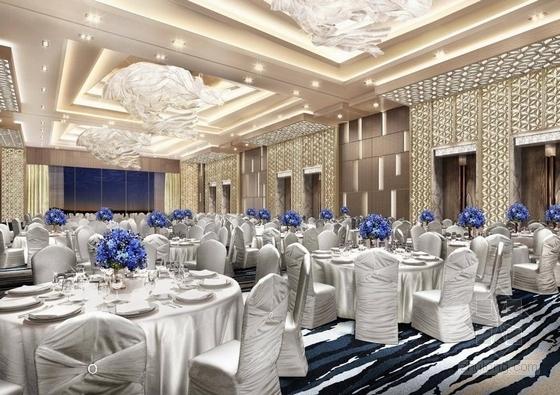[海南]雅致海滨地带五星级度假酒店客房装修施工图(含全套酒店方案)宴会厅效果图