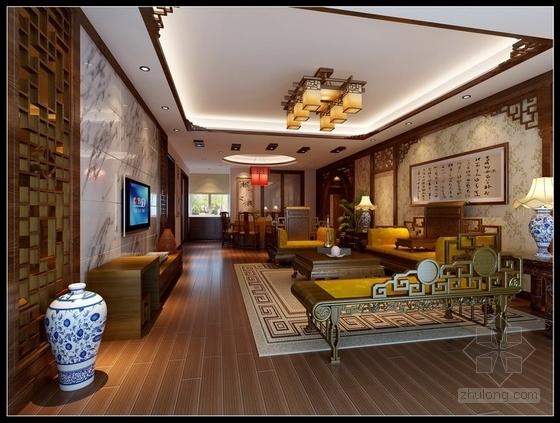 [天津]风景地产古典中式三居室装修施工图(含效果图) 效果图
