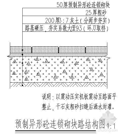 预制异形砼连锁砌块路结构图