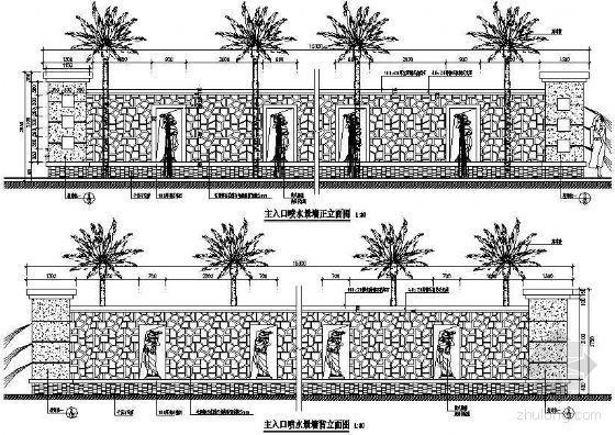 主入口喷水景墙详图