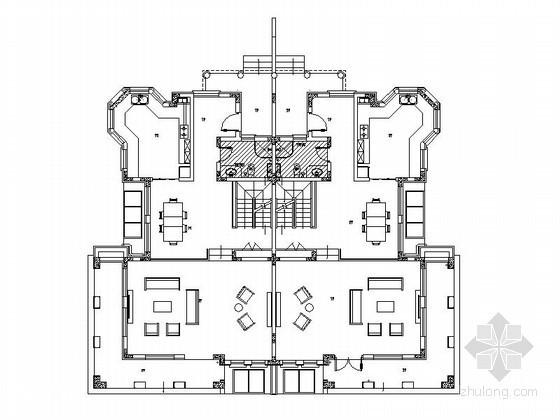 某三层高档双拼别墅户型平面图