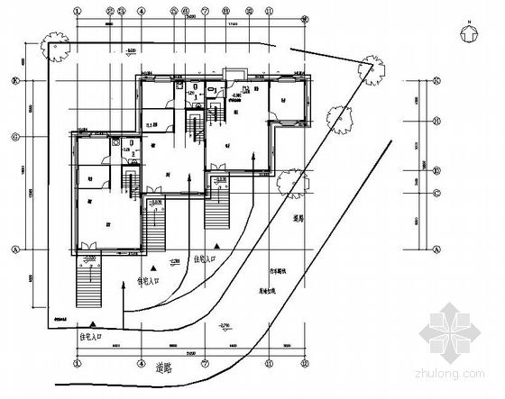 上海某三层别墅给排水平面图