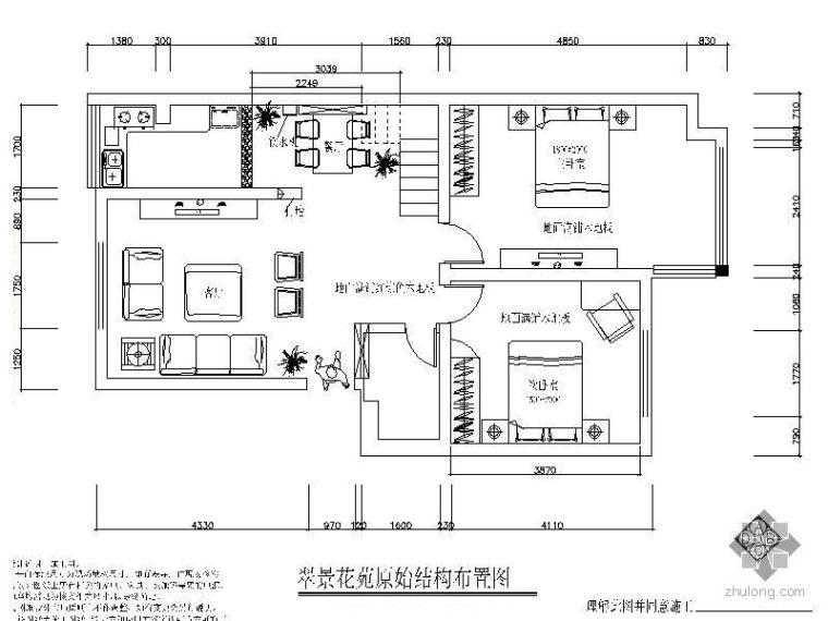 中式二室二厅样板间装修图