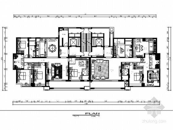 精品高档中式风格四居室样板间室内设计施工图
