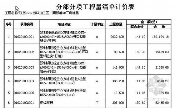 [江苏]出口加工区厂房桩基础清单报价(2011)
