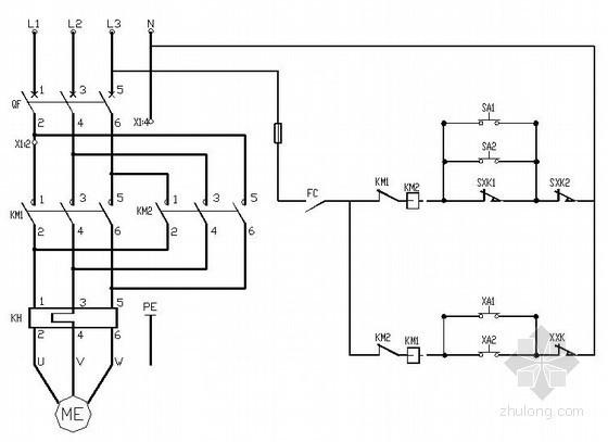 防火卷帘门电气控制原理图