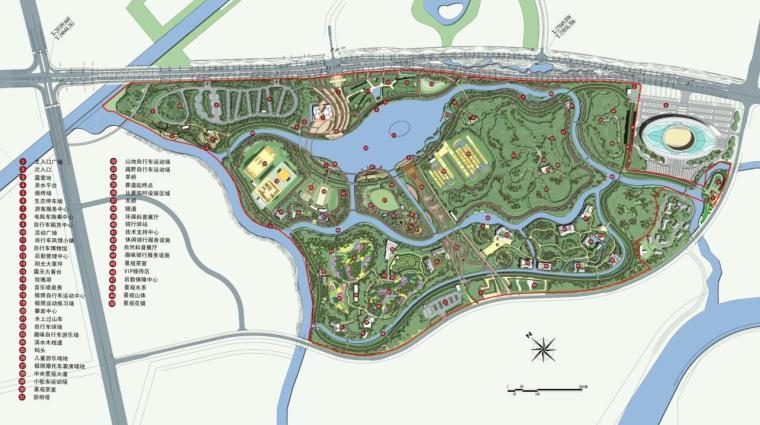 [上海]陈家镇自行车公园景观方案设计(PDF+134页)-总平面图