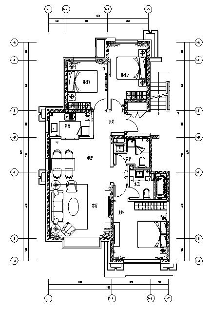 [北京]全套三居室精装样板间室内设计施工图(含效果图)