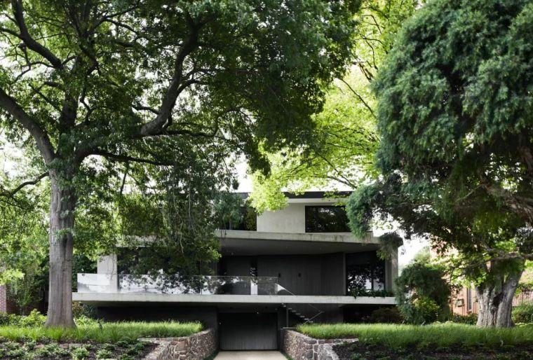 墨尔本现代灰色系住宅,后现代风景