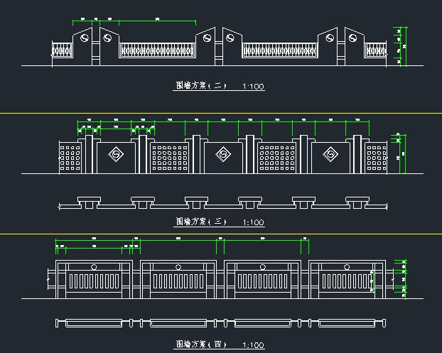 围墙铁艺栏杆方案CAD图_7