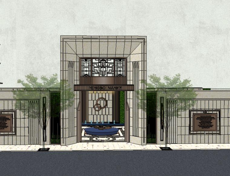 居住区大门围墙模型设计(新中式风格)-场景一