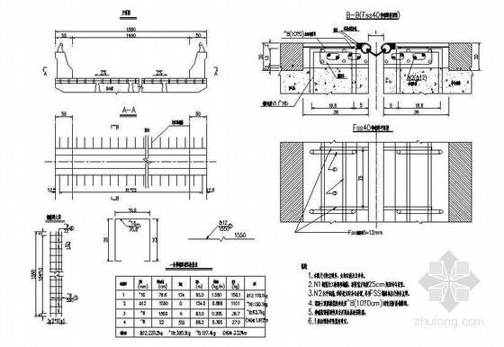空心板伸缩缝预埋钢筋布置节点详图设计