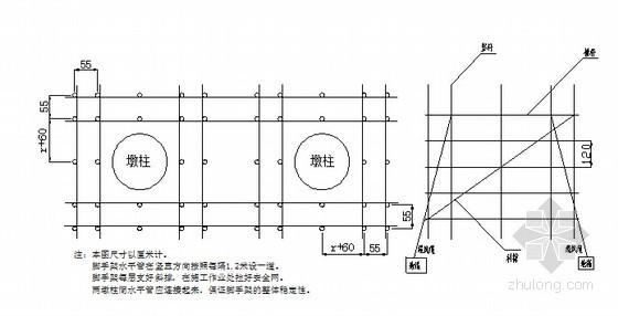 [广东]专家评审桥梁15~38米高墩施工专项方案64页(空心薄壁墩双柱圆墩)-支架管布置图
