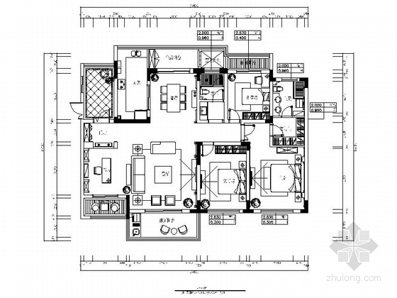 [安徽]精品典雅欧式风格三居室室内装修施工图(含效果)