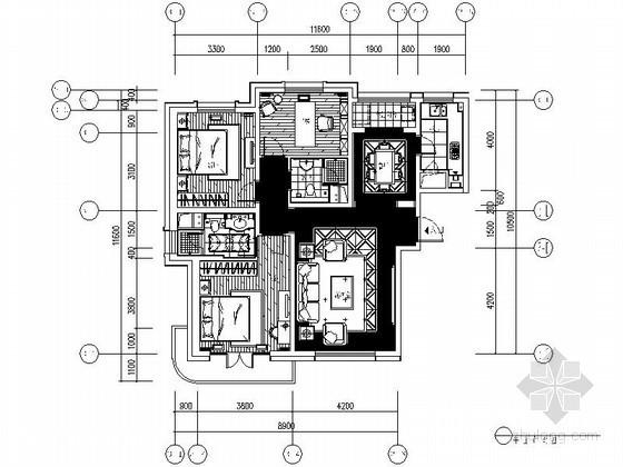 [青岛]三居室样板间室内装修图