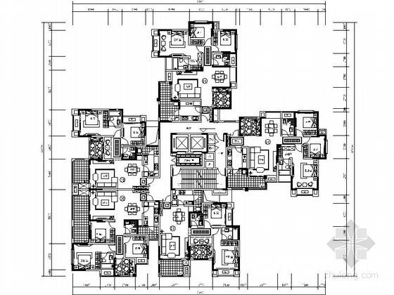 某高层一梯五住宅户型平面图(120、100平方米)