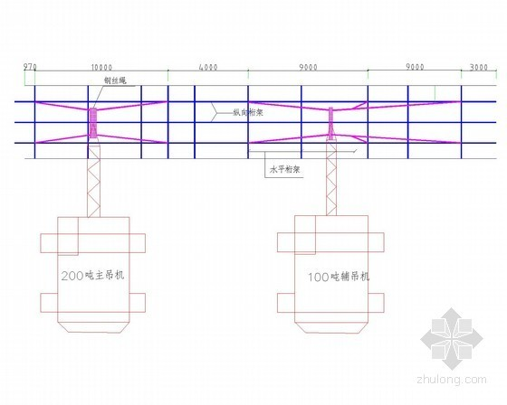 [浙江]35.9t地下连续墙钢筋笼吊装专项施工方案(细部图丰富)-钢筋笼吊装吊车站位示意图
