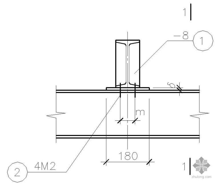 某直线轨梁与钢梁连接节点构造详图