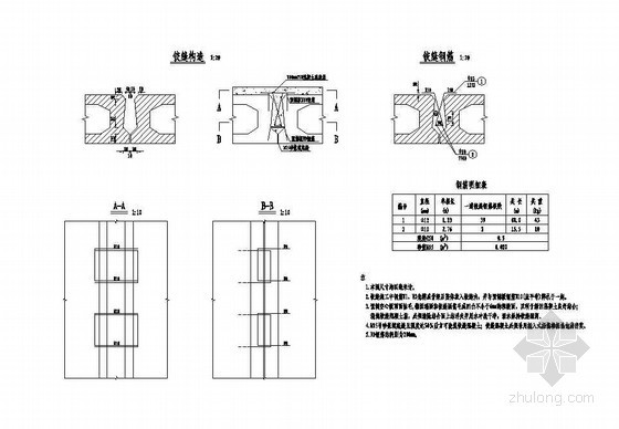 1×10米预应力混凝土空心板铰缝钢筋构造节点详图设计
