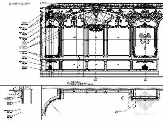 [南通]白金五星级酒店奢华欧式法国厅贵宾室CAD装修图墙面大样图