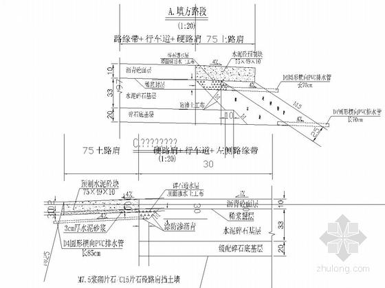 双向四车道高速公路路基路面排水设计图27张(边沟急流槽集水井)-填方路段排水