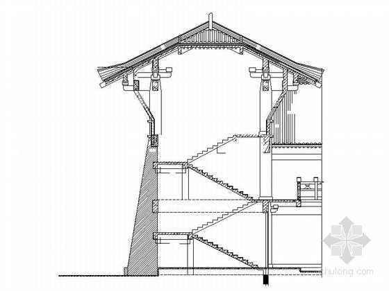 仿古3层单檐道学院节点图