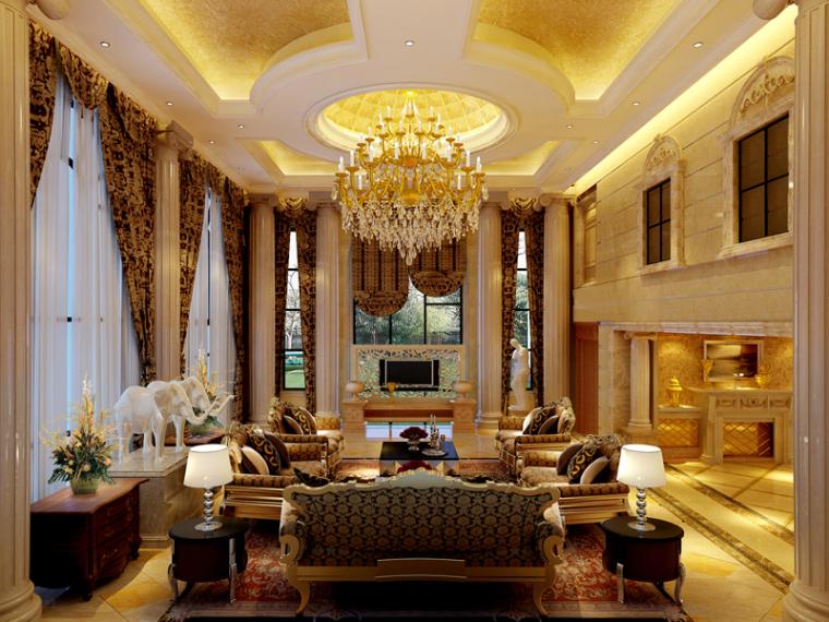 欧式奢华沙发3D模型资料下载-宽敞奢华欧式客厅3D模型下载