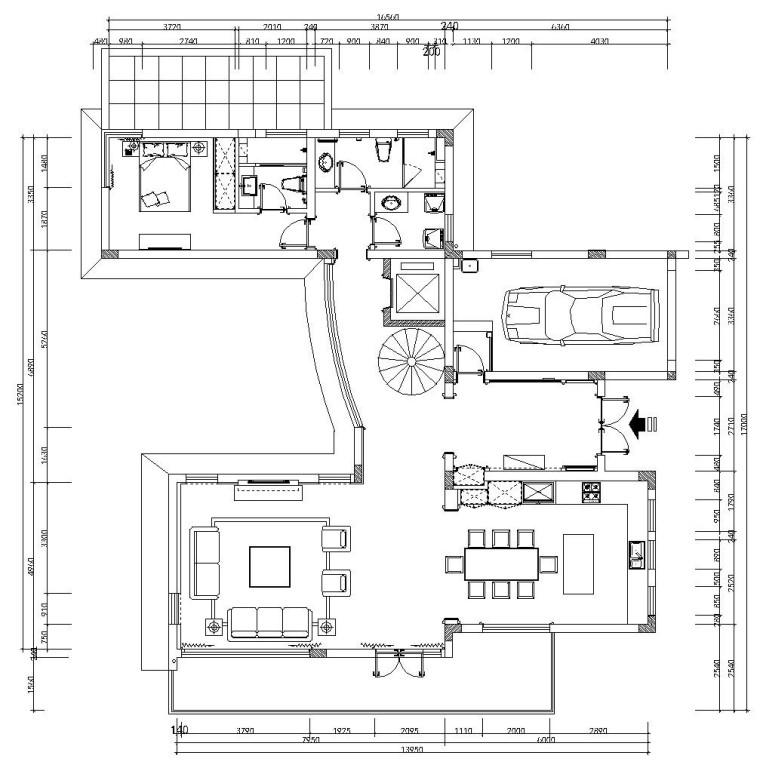 江南华府样板间装修施工图设计(附高清效果图)