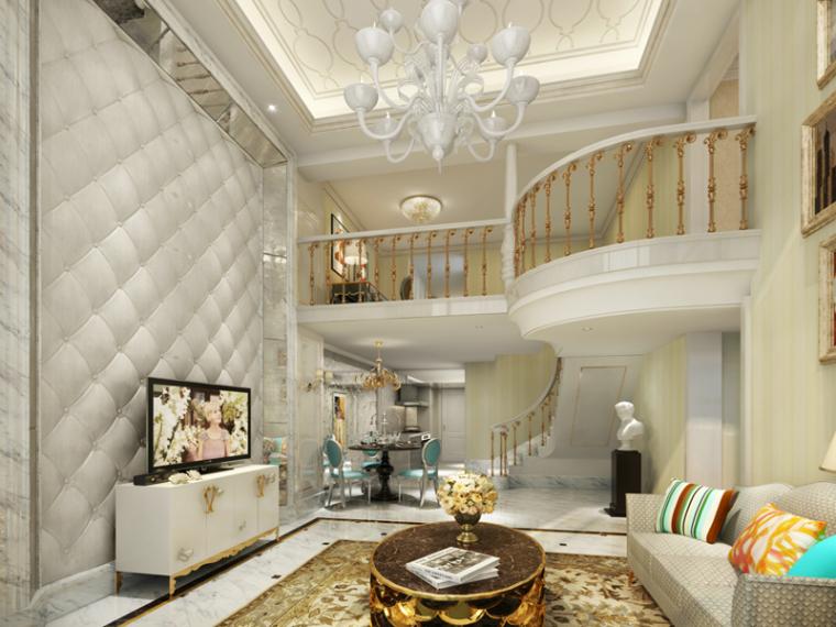 别墅客厅3D模型下载-别墅客厅