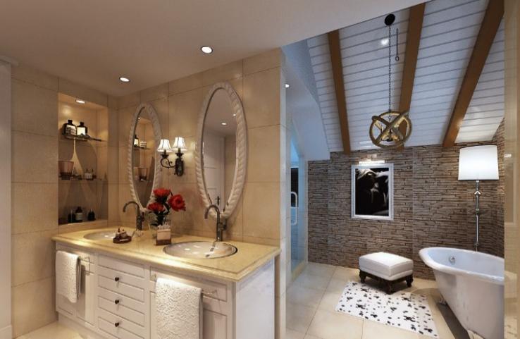 美式-复地爱伦坡别墅室内设计方案图(含效果图,施工图)-主卫生间效果图