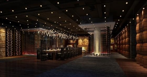 [天津]中外合资企业高档典雅红酒展厅设计方案图红酒窖效果图